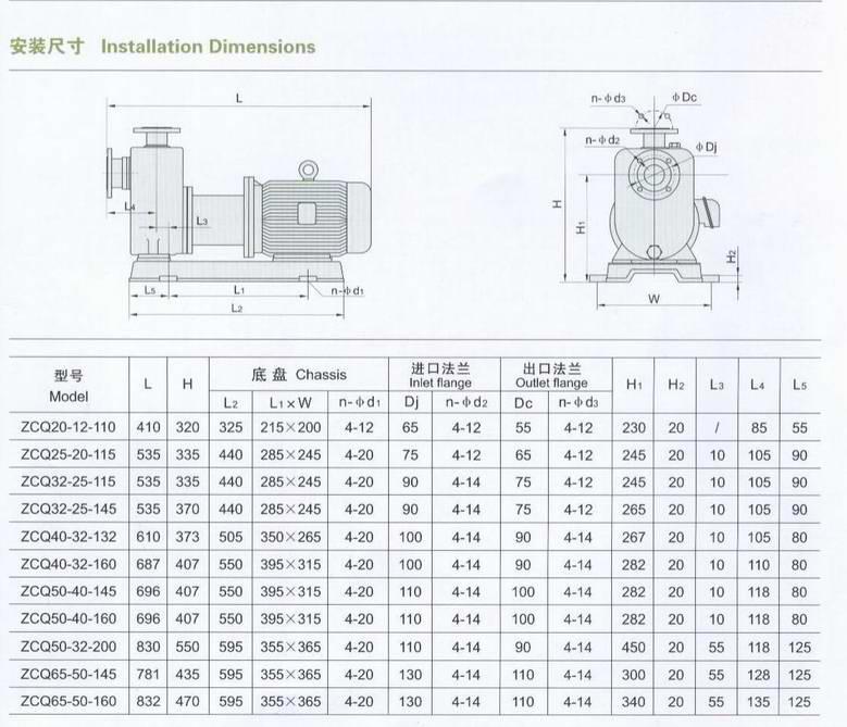 自吸泵安装尺寸
