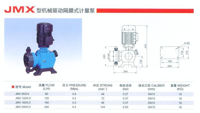 JMX型机械驱动隔膜式计量泵