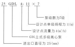 GDL立式多级离式泵型号意义