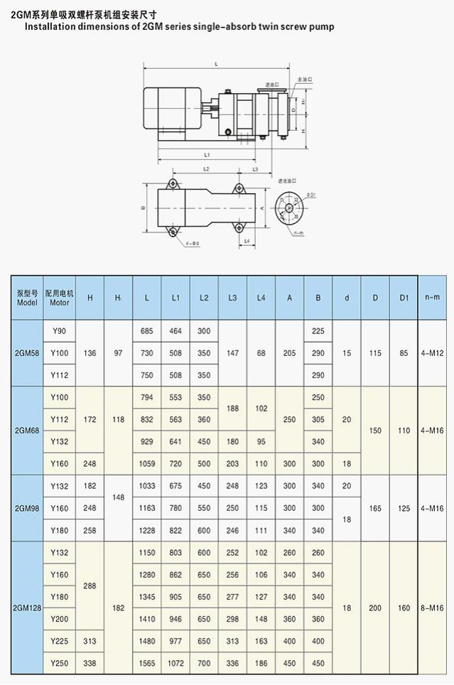 2GM系列单吸双螺杆泵机组安装尺寸