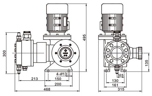 JYZ系列液压隔膜式计量泵安装尺寸图